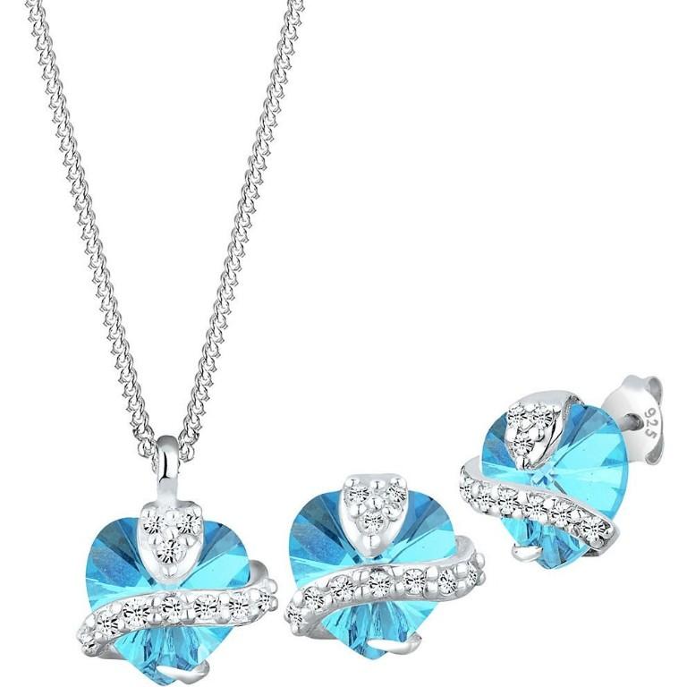 Elli Kristallkette + Ohrstecker Set Herz blau (0901641713)