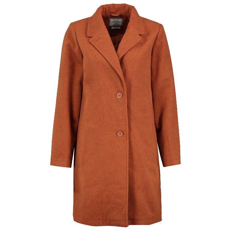 Mantel aus Wollmischung in Braun