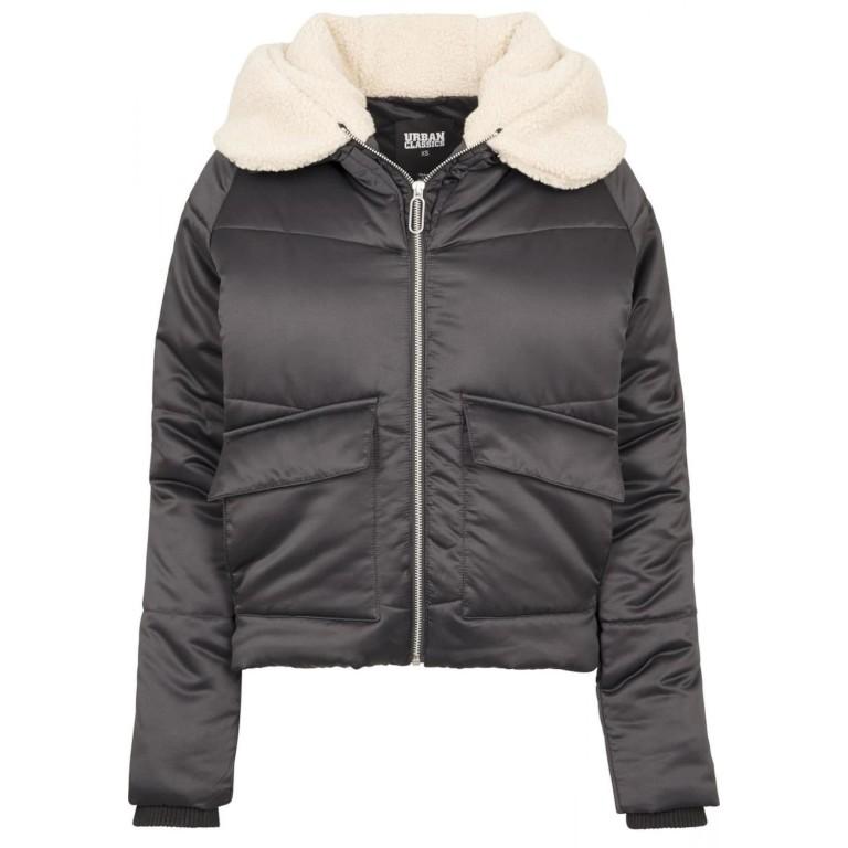 Urban Classics Ladies Sherpa Hooded Jacket black (TB2380-01483)